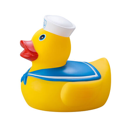 Rubber Duck in a sailor suit, isolated on a white background.