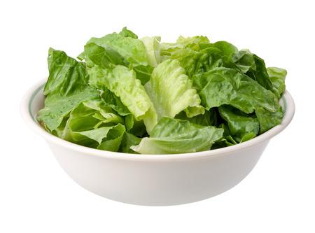 romaine: Romaine Salad Bowl isolated on a white background. Stock Photo