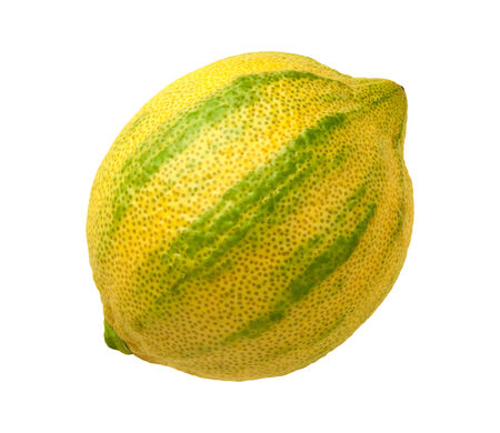 hued: Pink Lemon isolated on a white background. Pink lemons are variegated, with green stripes on the outside, and a rose hued pink flesh inside. They belong to the Eureka lemon family.