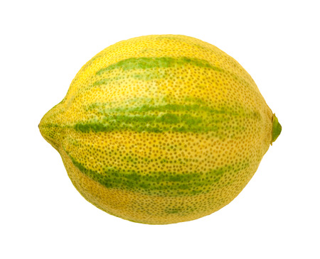 Pink Lemon isolated on a white background. Pink lemons are variegated, with green stripes on the outside, and a rose hued pink flesh inside. They belong to the Eureka lemon family.