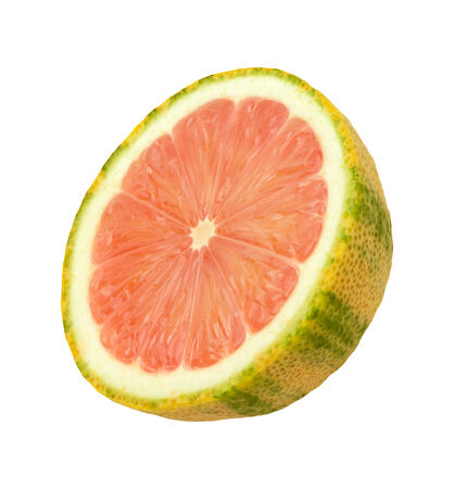 hued: Pink Lemon Slice isolated on a white background. Pink lemons are variegated, with green stripes on the outside, and a rose hued pink flesh inside. They belong to the Eureka lemon family.