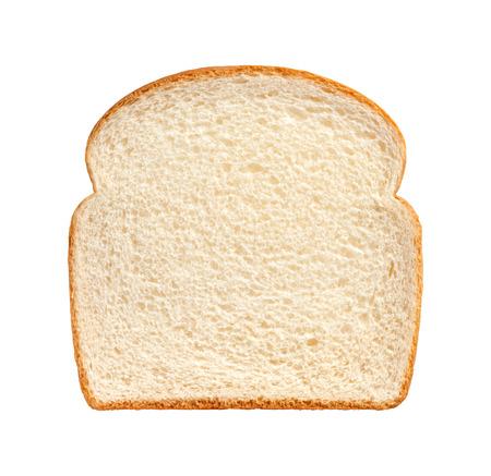 Enkel sneetje wit brood geïsoleerd op een witte achtergrond. Stockfoto