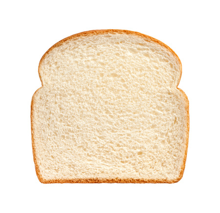 with white: Single Slice of white bread  isolated on a white background. Stock Photo