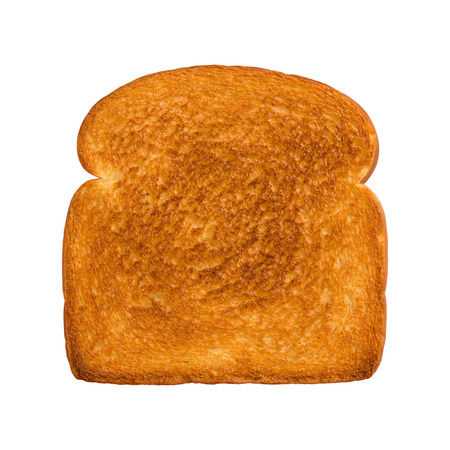 Aerial view of a single slice of toasted white bread. The subject is isolated on a white background  Stock Photo