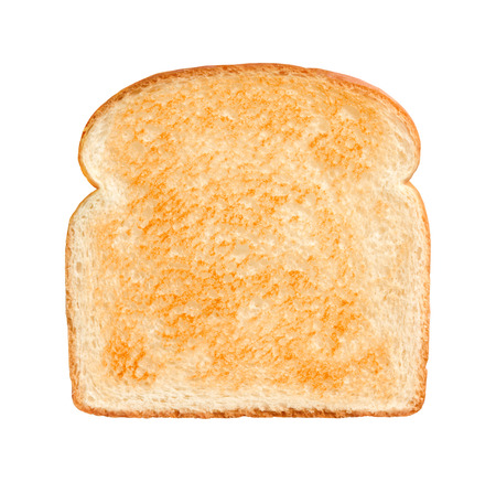 Single Slice of lightly toasted white bread isolated on a white background. Stock Photo