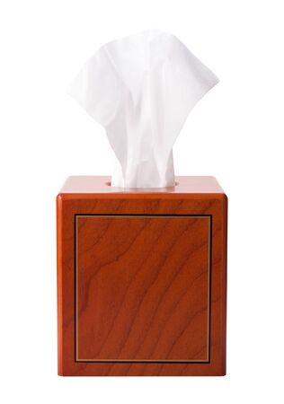 Facial Tissue in a Wood Box isolated on white. It includes a clipping path.