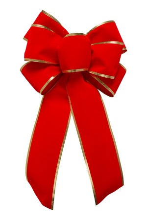 clipping  path: Red Velvet Bow Red Velvet Bow with gold trim, isolated on white with a clipping path. Stock Photo