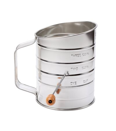 sifter: Stainless Sifter with a Crank. Isolated on white with a clipping path. The image is in full focus, front to back.