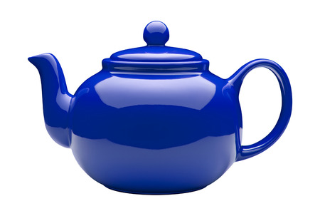 Blue Ceramic Teapot isolated on white with a clipping path. Stock Photo