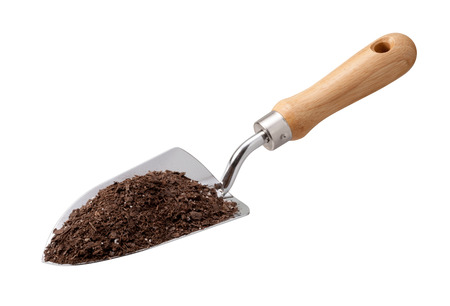 potting: Garden Trowel with Potting Soil isolated