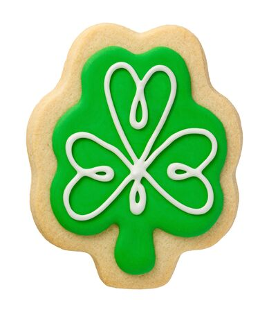 Shamrock Cookie for Saint Patricks Day, isolated on white. photo