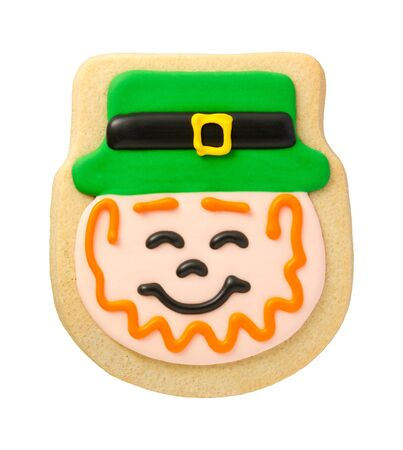Leprechaun Cookie for Saint Patricks Day, isolated on white. photo