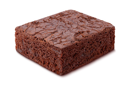 Chocolate Brownie isolated on white. The image is in full focus, front to back. Standard-Bild