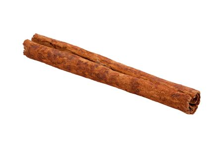 stick of cinnamon: Single cinnamon stick. Cinnamon is a spice, used as an ingredient, for many recipes.The subject is photographed from an angle. The image is a cut out, isolated on a white background. The stick is in full focus from the front to the back. Stock Photo