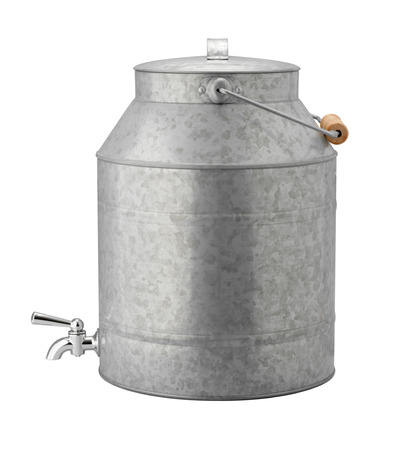 spigot: Antique Galvanized Water Cooler with a wood handle, and a chrome spigot. This retro container can hold tea, lemonade, or various sports drinks.