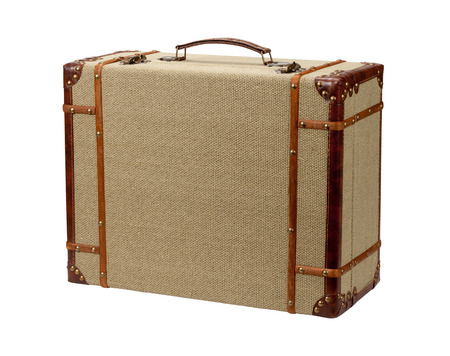 Deco Wood Burlap Suitcase.  The image is a cut out, isolated on a white background, with a clipping path.