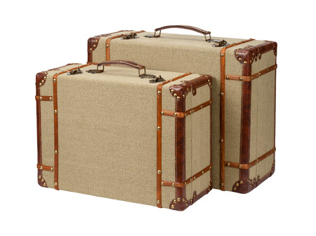 Two Standing Wood Burlap Suitcases.  The image is a cut out, isolated on a white background, with a clipping path.