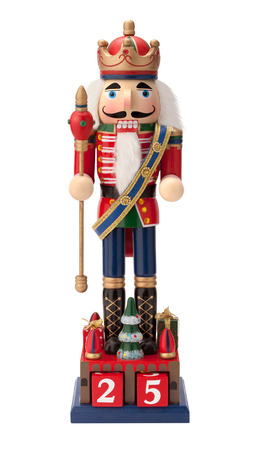 scepter: Antique Christmas Nutcracker Monarch holding a scepter. He wears a crown and sash with his uniform. The point of view is straight on, and is isolated on a white background.