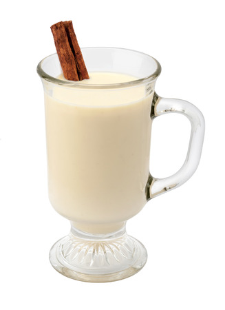 eggnog: Eggnog with Cinnamon in a Glass Cup. The image is a cut out, isolated on a white background, with a clipping path.