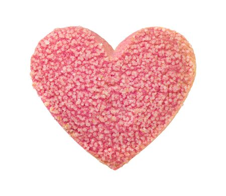 Valentine Heart Shaped Cookie with Sugar Sprinkles. The image is a cut out, isolated on a white background.