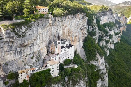 Aerial Panorama View of Madonna della Corona Sanctuary, Italy. The Church Built in the Rock