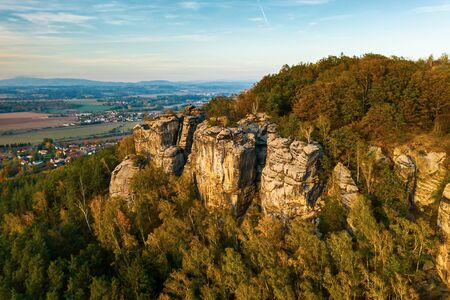 Bohemian Paradise. Sandstone rock formation group in Cesky raj at sunset
