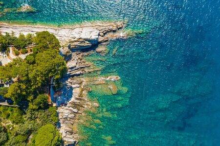 Beautiful turquoise rocky seascape. Aerial view of ligurian sea beach. Camogli near the Genova.