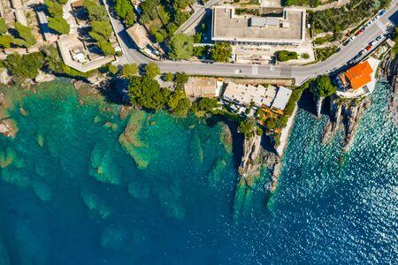 Rocky bay in Italy. Aerial drone view on Adriatic sea beach, Camogli, liguria