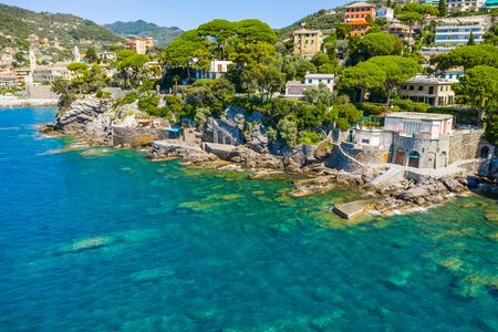 Rocky bay in Camogli, Italy. Aerial view on Adriatic seaside, liguria