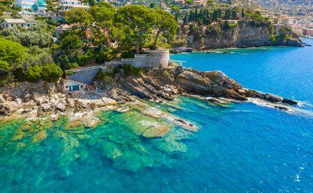Rocky coast in Camogli, Italy. A bird-eye view on Adriatic seaside, Liguria