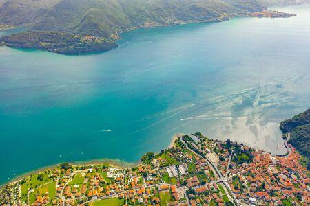 Aerial view of Como lake, Dongo, Italy Stockfoto