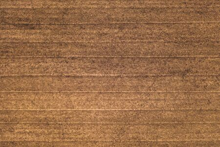 Textured ground surface with parallel lines from cultivator, top view. Fertile soil. Agricalture concept. 스톡 콘텐츠