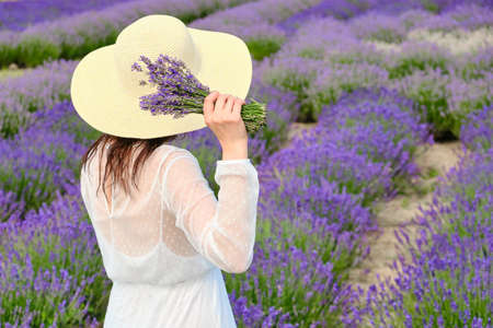 Young woman in a white dress and hat raised her hands with bouquet of lavender above a head in a background of the purple field with copy space. Provence style concept.
