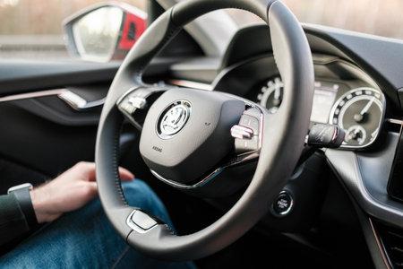 Self driving or autopilot mode in Skoda auto showing future of electric cars, March 2021, Prague, Czech Republic Editorial
