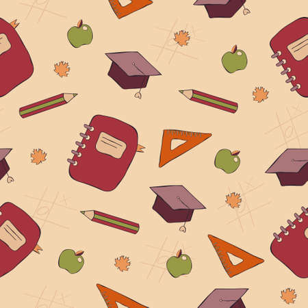 A seamless colorful pattern back to school