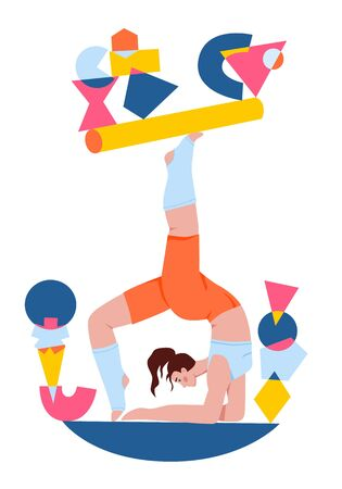Vector hand drawn flat isolated colourful illustration with white background. A young female balancing in yoga wheel pose surrounded by abstract geometric shapes.