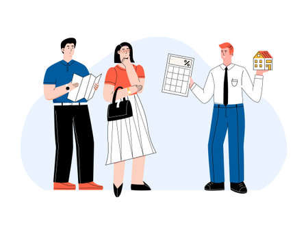 Man consultant holding a house and a calculator. Broker helps with home mortgage. Couple of people thinking about getting a home loan. Man holds a leaflet checking contract rate. Vector flat concept 矢量图像