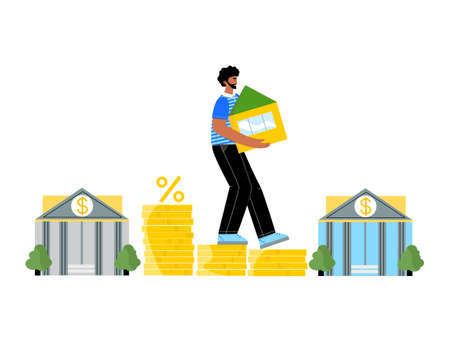 Man holding his house stepping down on coins walks from one bank to another. Mortgage refinance concept. Lower monthly payments and less percentage and market interest rate. Loan refinance design