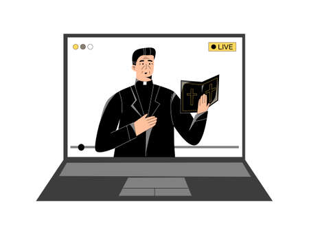 Pastor with a holy bible giving online church service, sermon online, video live streaming on laptop. Sermons and modern technology, watch online worship, priest praying online. Modern church concept Vectores