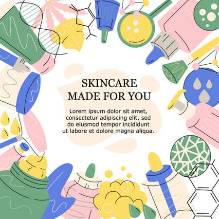 Round hand drawn flat vector frame made of beauty products and device, jars, tubes, dropper, cream, serum, dna, face roller, skin concerns, cbd, molecules structure, magnifying glass with text.