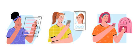 Young women fill up quiz, scan her face with mobile app, create custom-made skincare product with a device to address skin concerns.