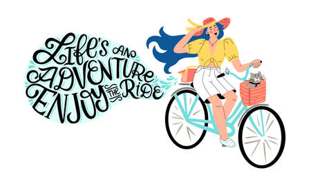 A happy girl riding on a retro bike with cat in a basket with lettering quote life is an adventure enjoy the ride. Vector flat hand drawn illustration. Spring summer activity holidays poster design.