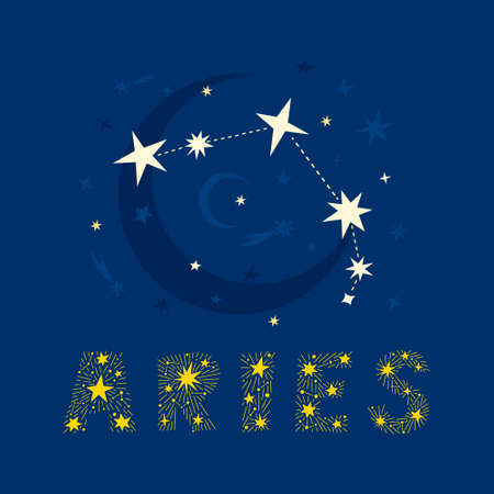 Hand drawn Aries zodiac star constellation design. Abstract starry map of the night sky with blue background and decorative lettering. Vector isolated illustration for posters, prints, birthday cards.