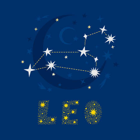 Hand drawn Leo zodiac star constellation design. Abstract starry map of the night sky with blue background and decorative lettering. Vector isolated illustration for posters, prints, birthday cards.