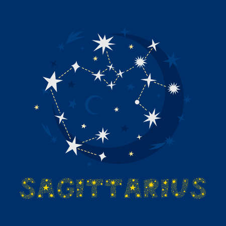 Hand drawn Sagittarius zodiac star constellation design. Abstract map of the night sky with blue background and decorative lettering. Vector isolated illustration for posters, prints, birthday cards.