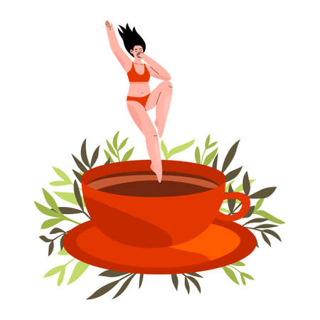 Coffee lover addict concept. Happy young female addicted to caffeine. Woman jumping into a big cup of coffee or cocoa. Morning cup of coffee. Hand drawn flat vector illustration with floral backdrop.