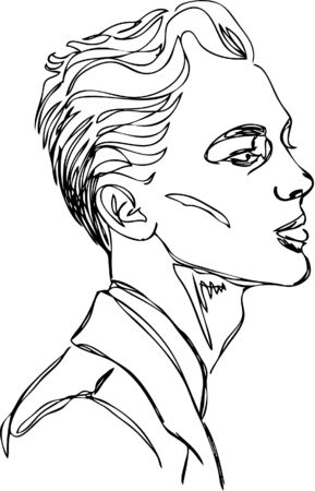 Head of young man. one line design