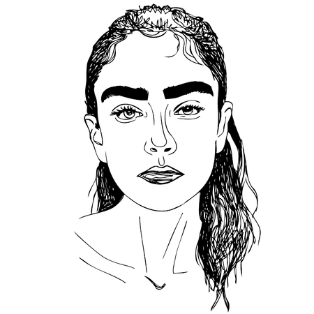 illustration. Face of young woman. one line design.