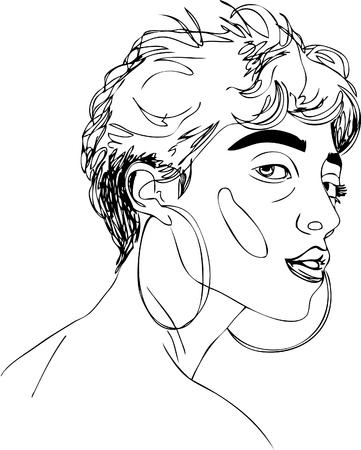 illustration. short-haired girl in earrings. one line design