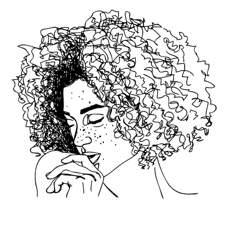 illustration. young woman with curly hair. one line design.